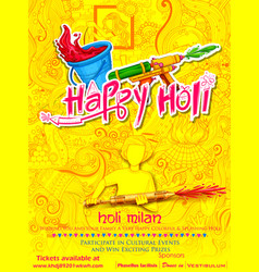 Happy holi doodle background for festival of vector