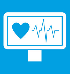 heartbeat icon white vector image