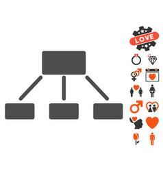 Hierarchy icon with love bonus vector