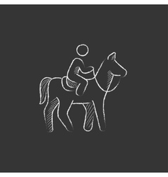 Horse riding Drawn in chalk icon vector image