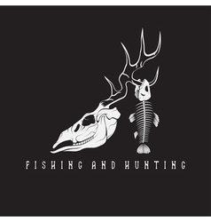 Hunting and fishing vintage emblem with skulls of vector