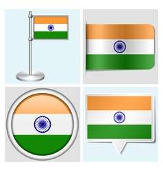 India flag - sticker button label flagstaff vector image vector image