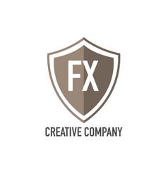 Initial letter fx shield design loco concept vector