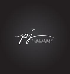 Initial letter pj logo - hand drawn signature logo vector
