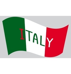 Italian flag waving with word Italy vector image