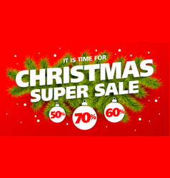 Its time for christmas super sale vector