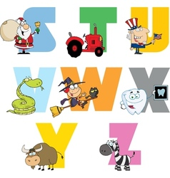Joyful Cartoon Alphabet Collection 3 vector image