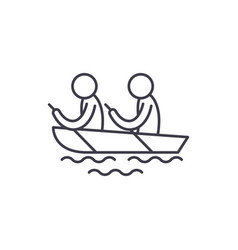 kayaking line icon concept kayaking linear vector image
