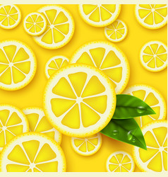 lemon yellow background sliced lemons pieces with vector image
