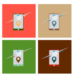 Location icon with plane in mobile phoneflat vector