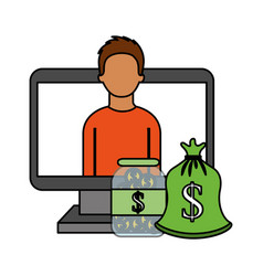 man computer money bag coins money business vector image