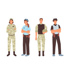 Military sergeant army officer police man woman vector