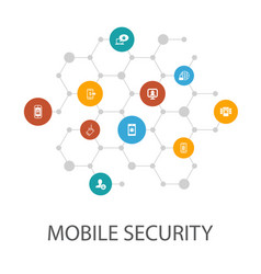 Mobile security presentation template cover vector