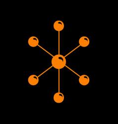molecule sign orange icon on black vector image