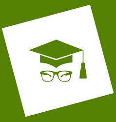 Mortar board or graduation cap with glass vector