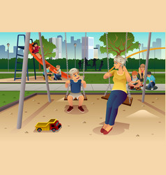 mother son playing on swing vector image