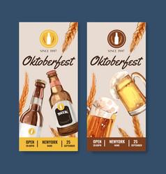 Oktoberfest flyer design with beer in glass vector