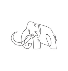 one continuous line drawing big mammoth vector image