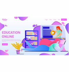 online education landing page template flat vector image