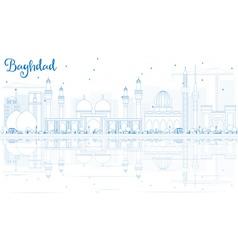 Outline Baghdad Skyline with Blue Buildings vector
