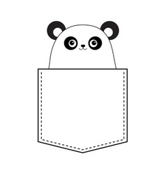 panda bear head face in the pocket doodle linear vector image