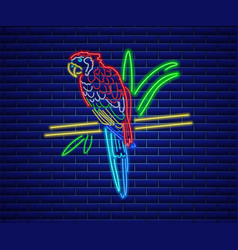 parrot neon glowing shiny colorful bird decor vector image