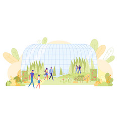 People visiting natural botanical museum excursion vector