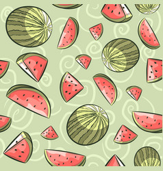 pink and green watermelon seamless pattern vector image