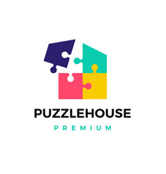 puzzle house logo icon vector image