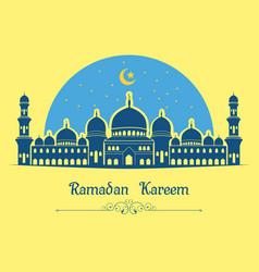 ramadan kareem background with mosque on yellow ba vector image