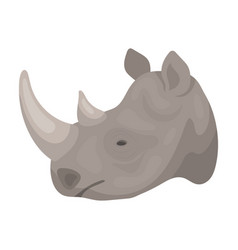 Rhinoceros icon in cartoon style isolated on white vector