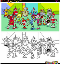 robot characters group coloring book vector image