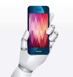 Robot hand hold smartphone design concept vector