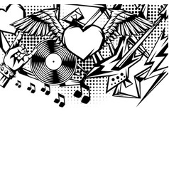rock and roll music print vector image