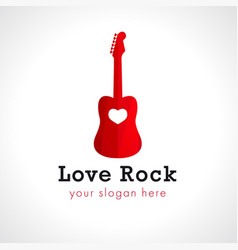 Rock love guitar logo vector