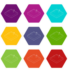 sandbox icons set 9 vector image