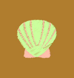Scallop sea shell sketch style realistic vector
