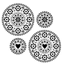 scandinavian folk style mandala design set vector image