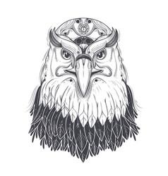 Sea eagle head with pagan runic symbols vector