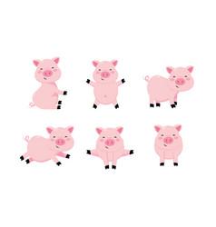 Set cute pig wild animal character vector