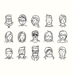 Set different people characters set vector