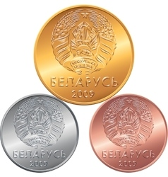 Set obverse new Belarusian Money coins vector image