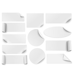 set of white paper stickers of different shapes vector image