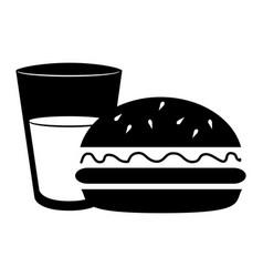 silhouette glass cup drink and hamburguer food vector image
