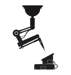 silhouette industrial robot arm mechanical vector image