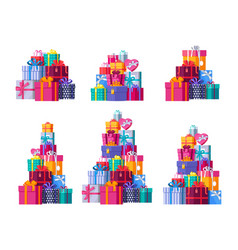 six pile colorful wrapped gift boxes vector image