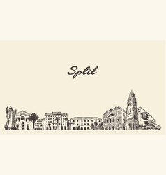 split skyline croatia hand drawn sketch vector image