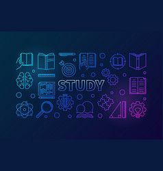 study blue horizontal in thin vector image