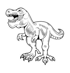 T-rex tyrannosaurus rex big dangerous dino running vector