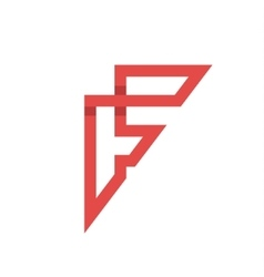 The letter F on the flat style vector